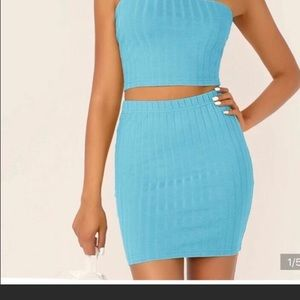 SHEIN rib-knit bandeau and bodycon skirt set.